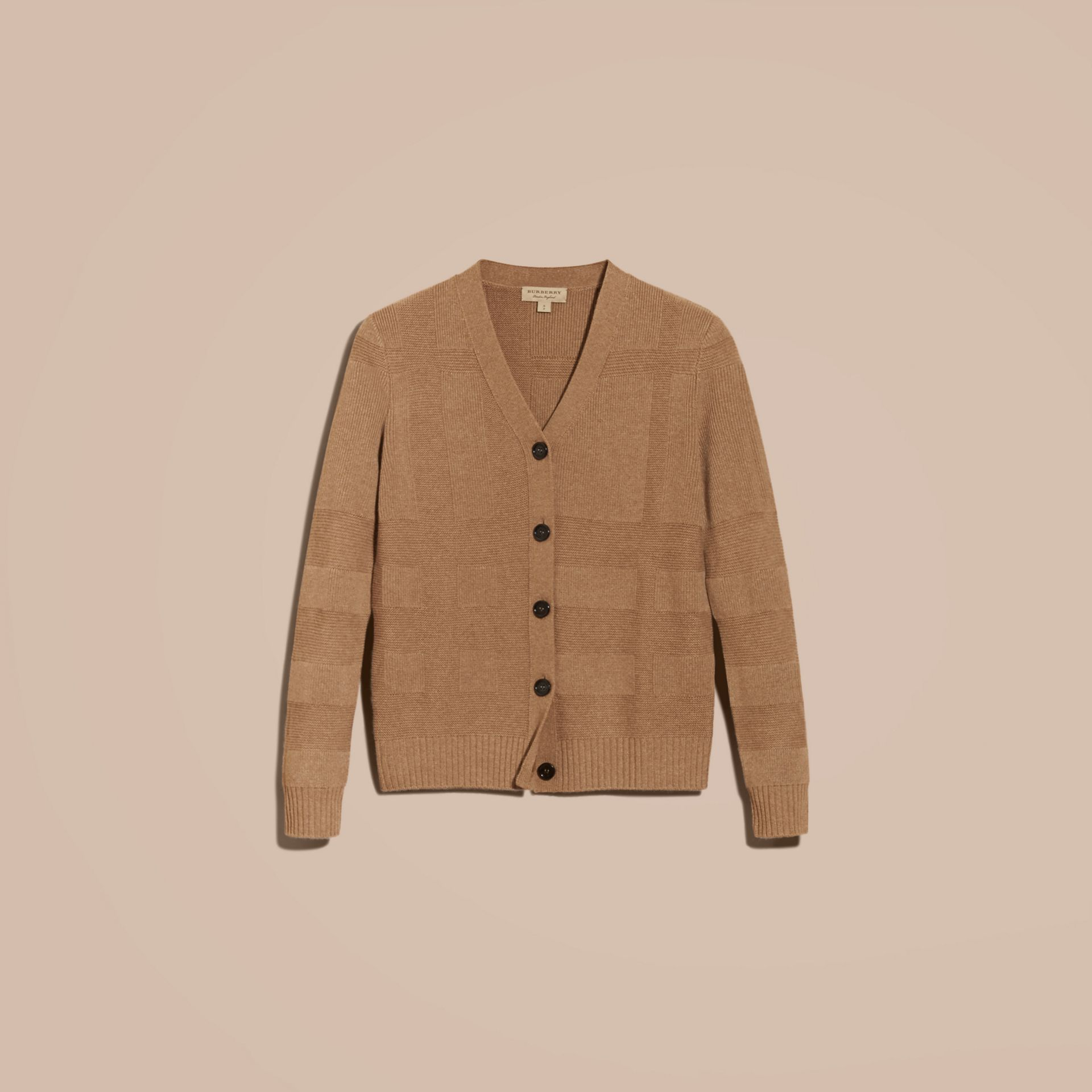 Check-knit Wool Cashmere Cardigan in Camel - gallery image 4