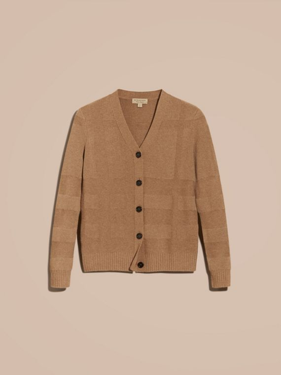 Check-knit Wool Cashmere Cardigan in Camel - cell image 3