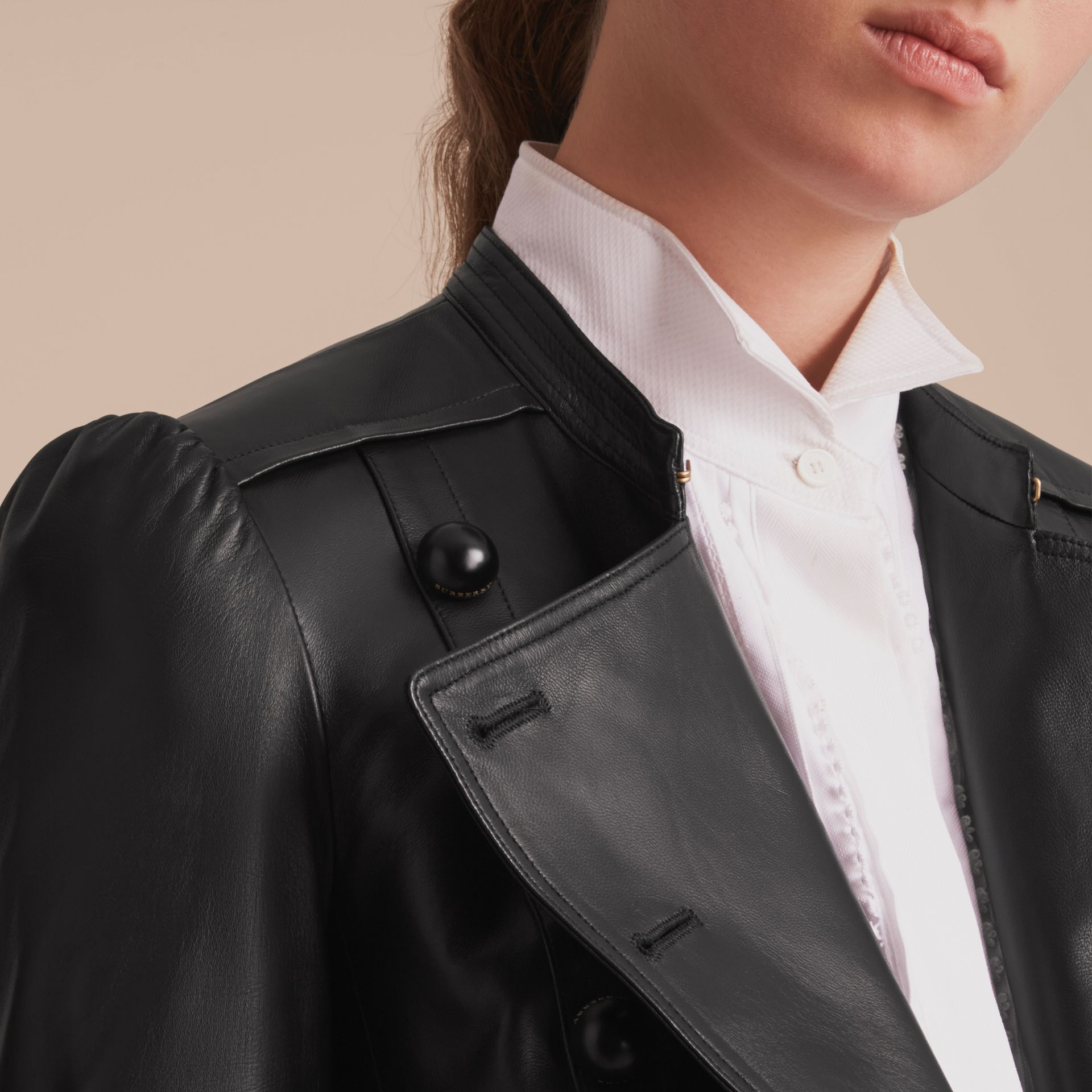 Lambskin Double-breasted Jacket - gallery image 5