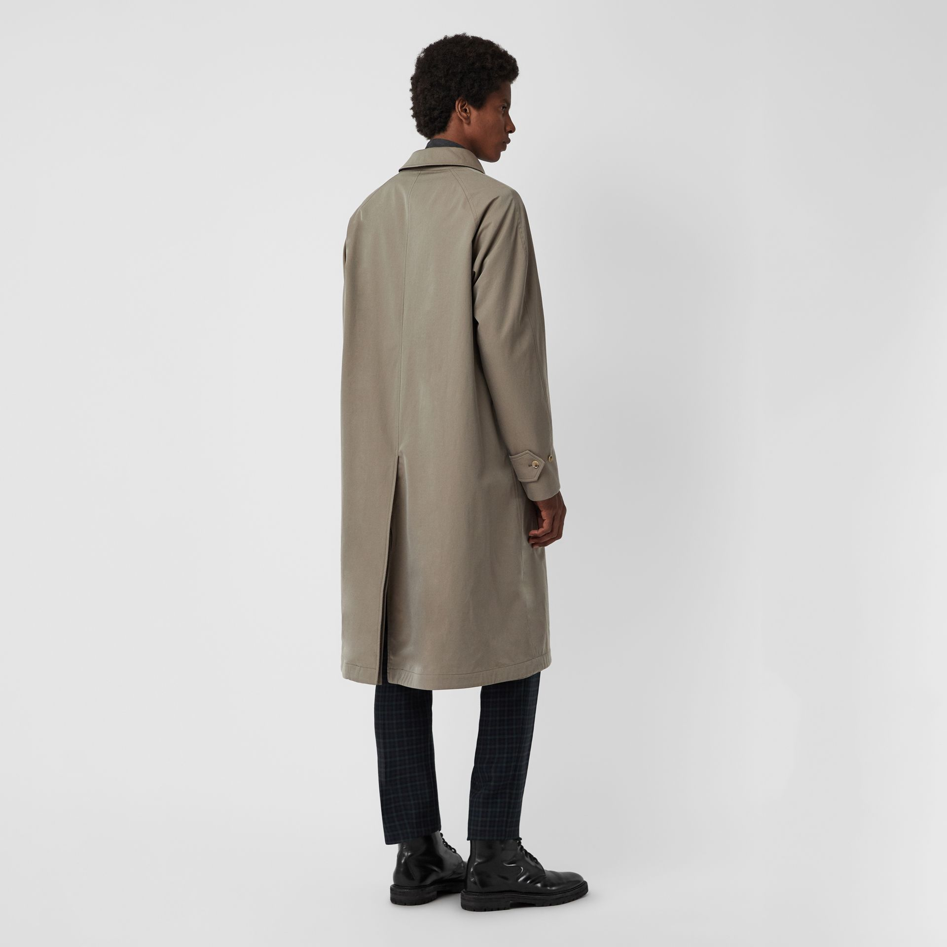 Reversible Tropical Gabardine and Wool Car Coat in Chalk Green - Men | Burberry United Kingdom - gallery image 2