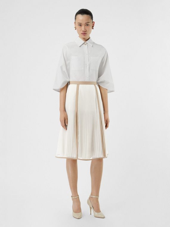 Chiffon Panel Silk Pleated Skirt in Magnolia