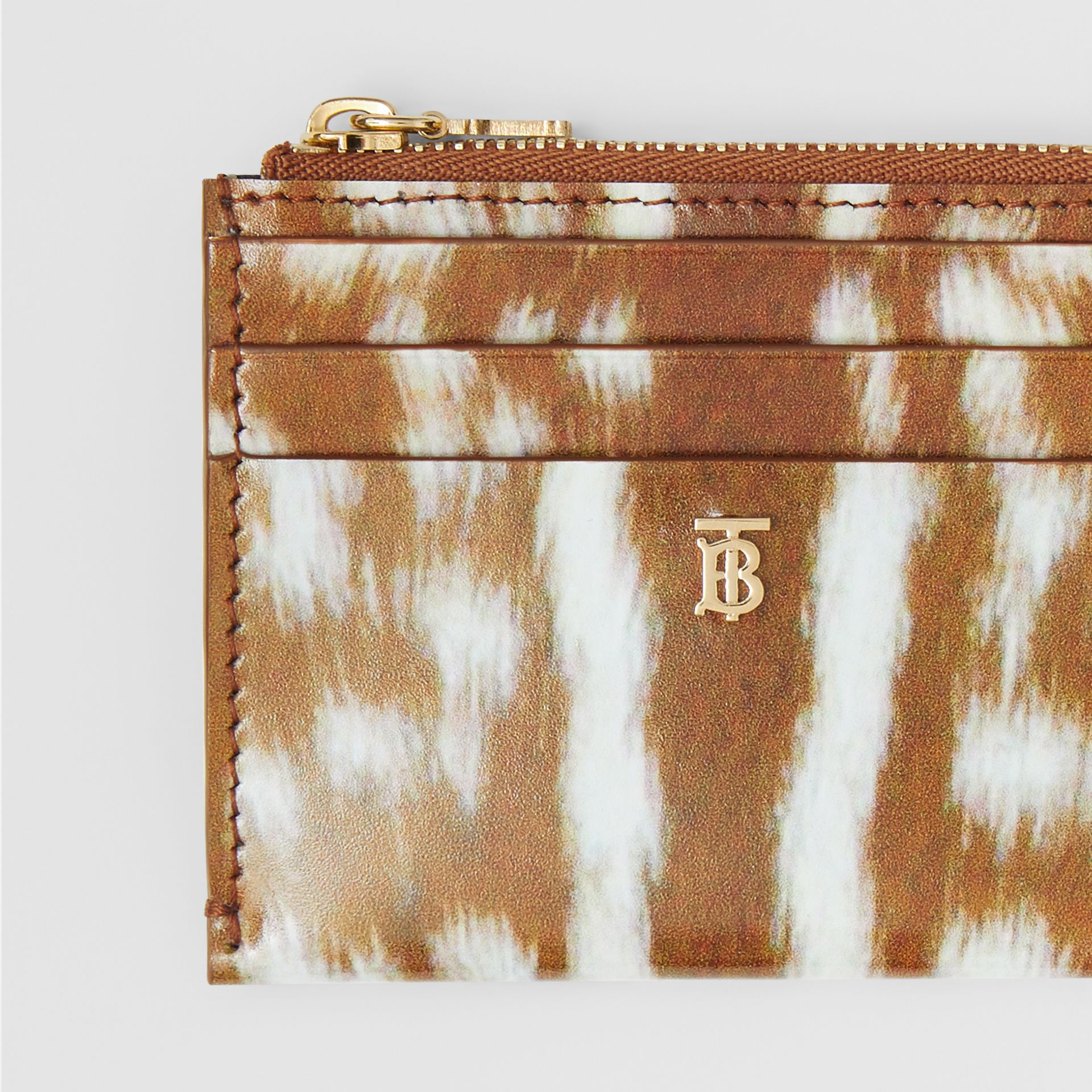 Deer Print Leather Zip Card Case in Malt Brown - Women | Burberry - gallery image 1