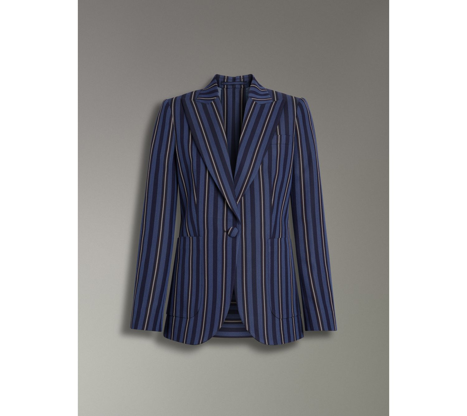 Collegiate Stripe Wool Blend Blazer in Navy/light Blue