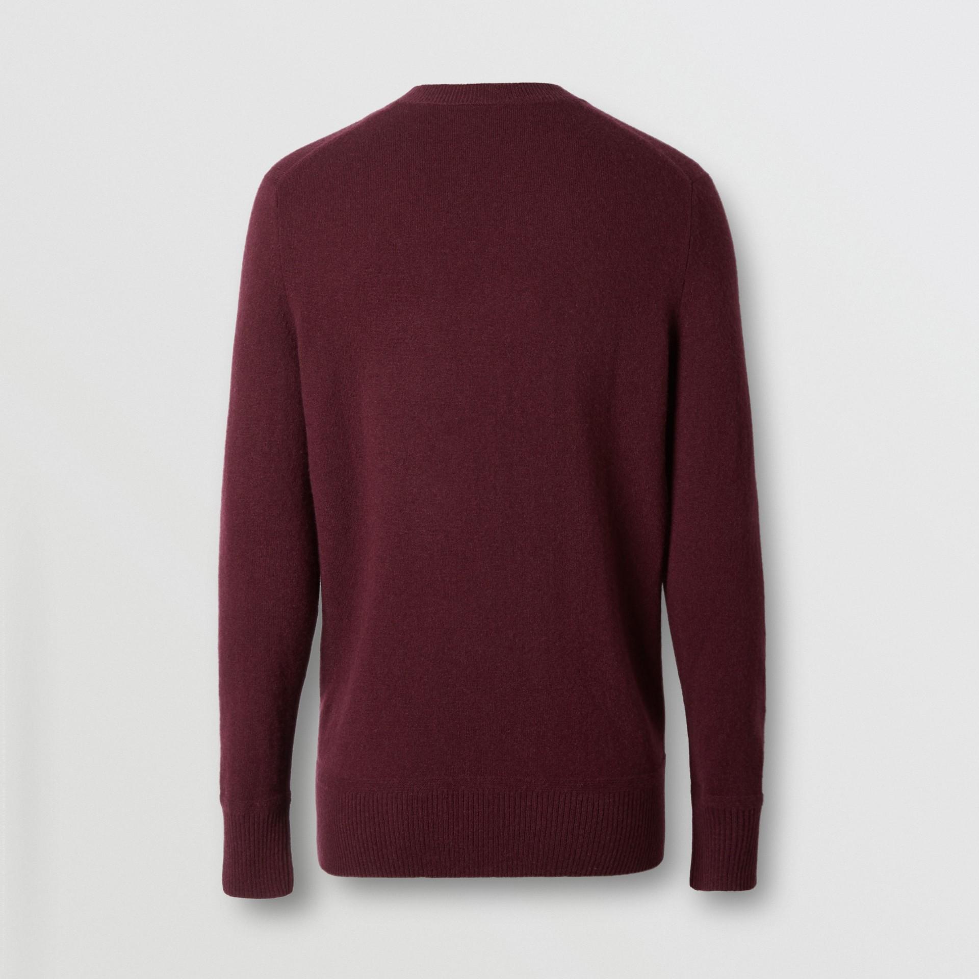 모노그램 모티프 캐시미어 스웨터 (버건디) - 남성 | Burberry - 갤러리 이미지 5