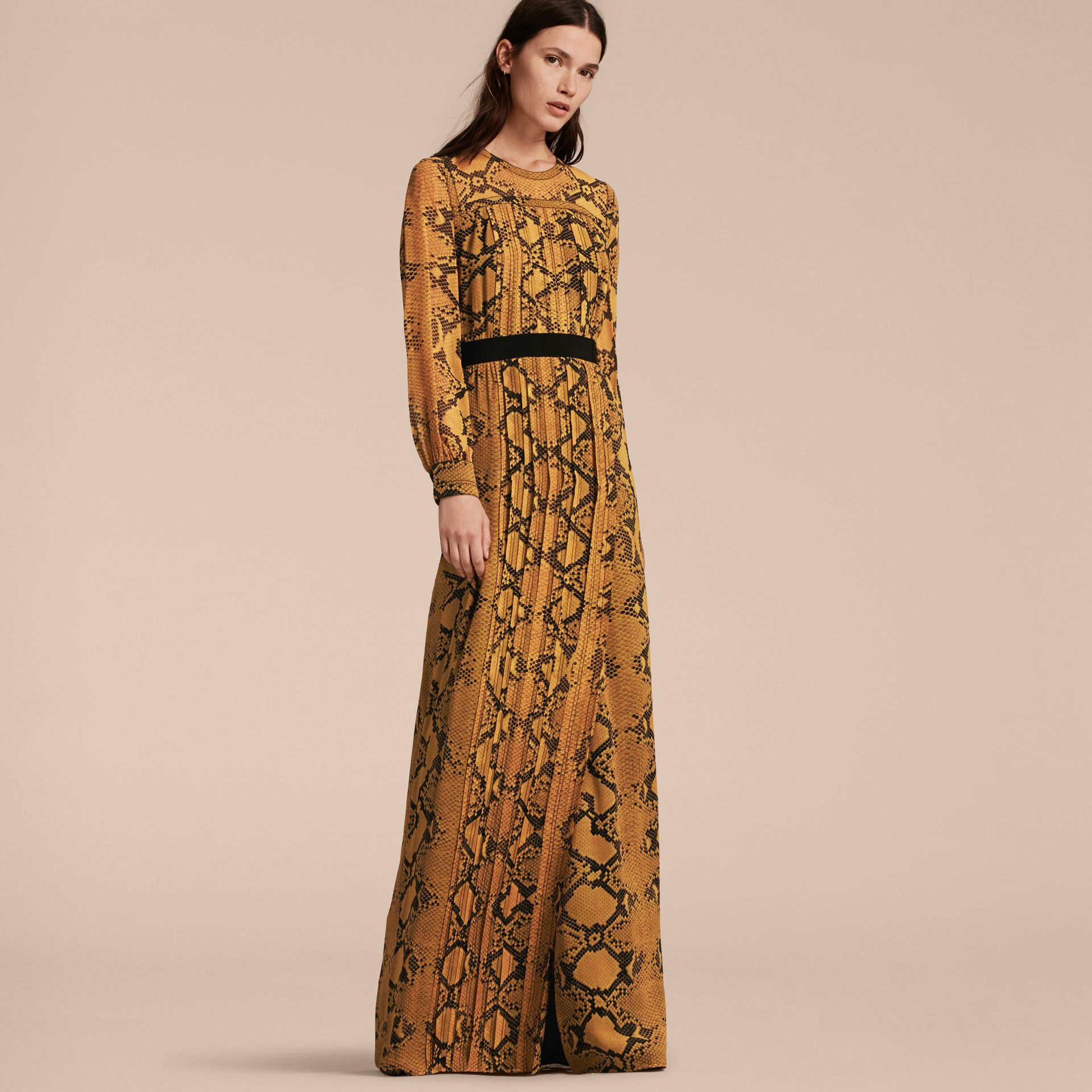 Amber yellow Floor-length Pleat Detail Python Print Silk Dress Amber Yellow - gallery image 6