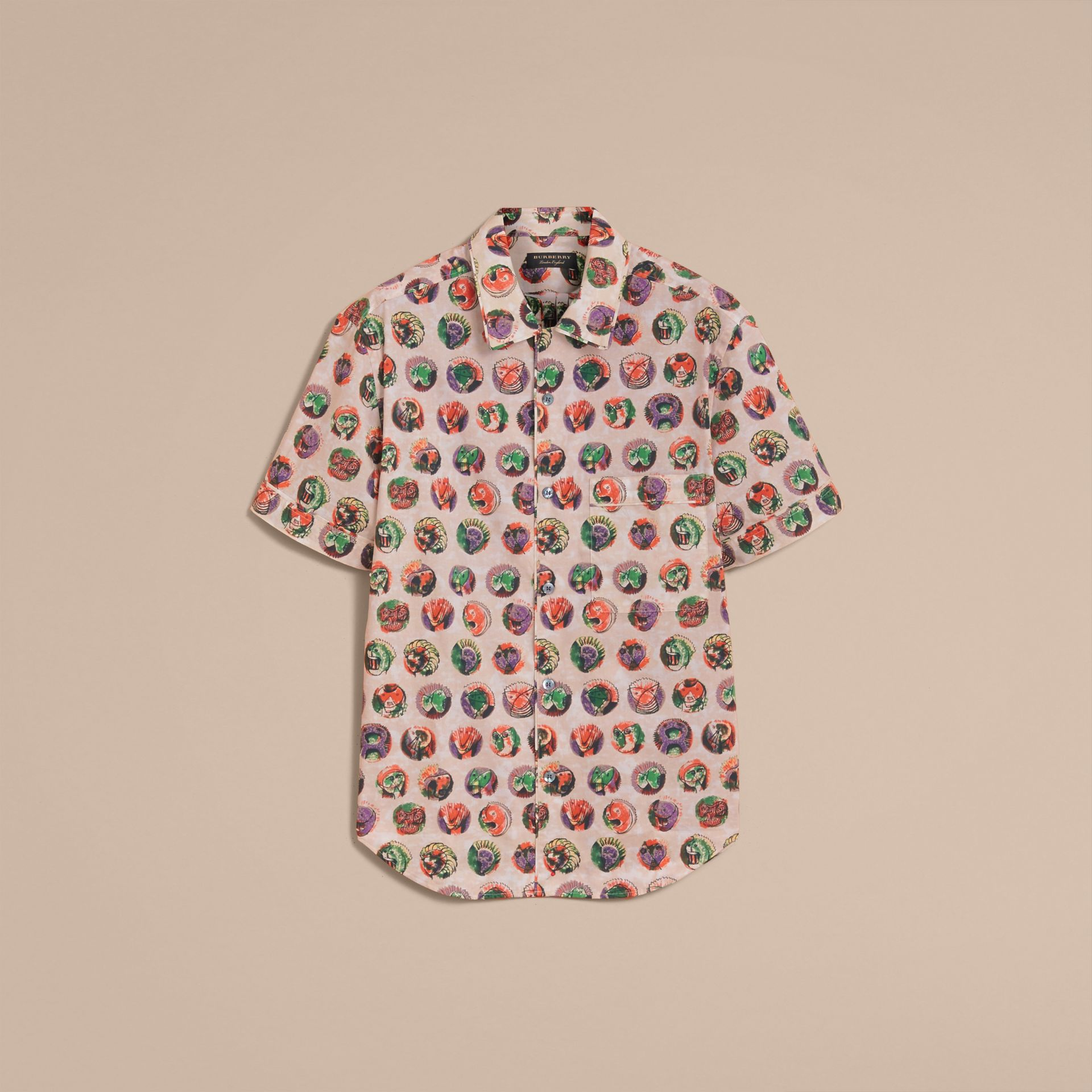 Short-sleeve Pallas Heads Print Cotton Shirt in Natural White - Men | Burberry United Kingdom - gallery image 4