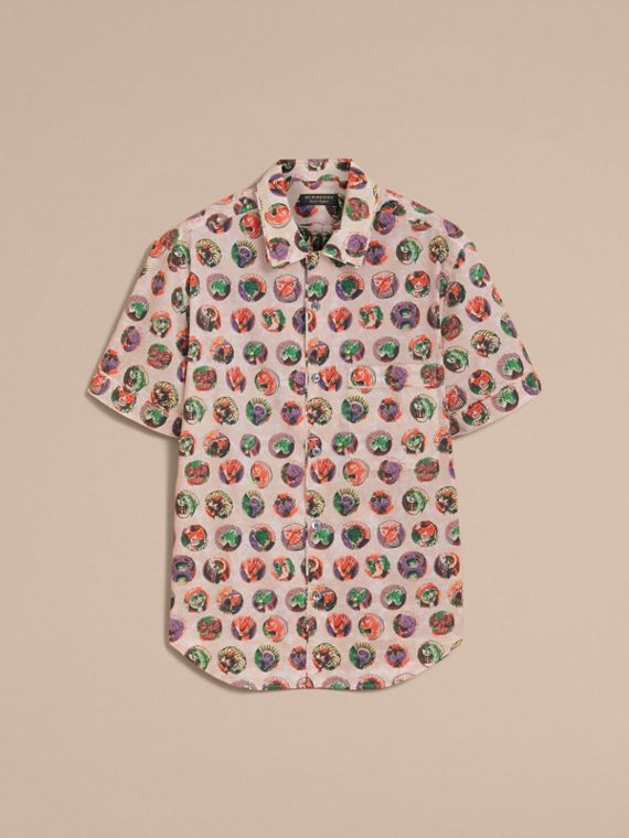 Short-sleeve Pallas Heads Print Cotton Shirt in Natural White - Men | Burberry United Kingdom - cell image 3