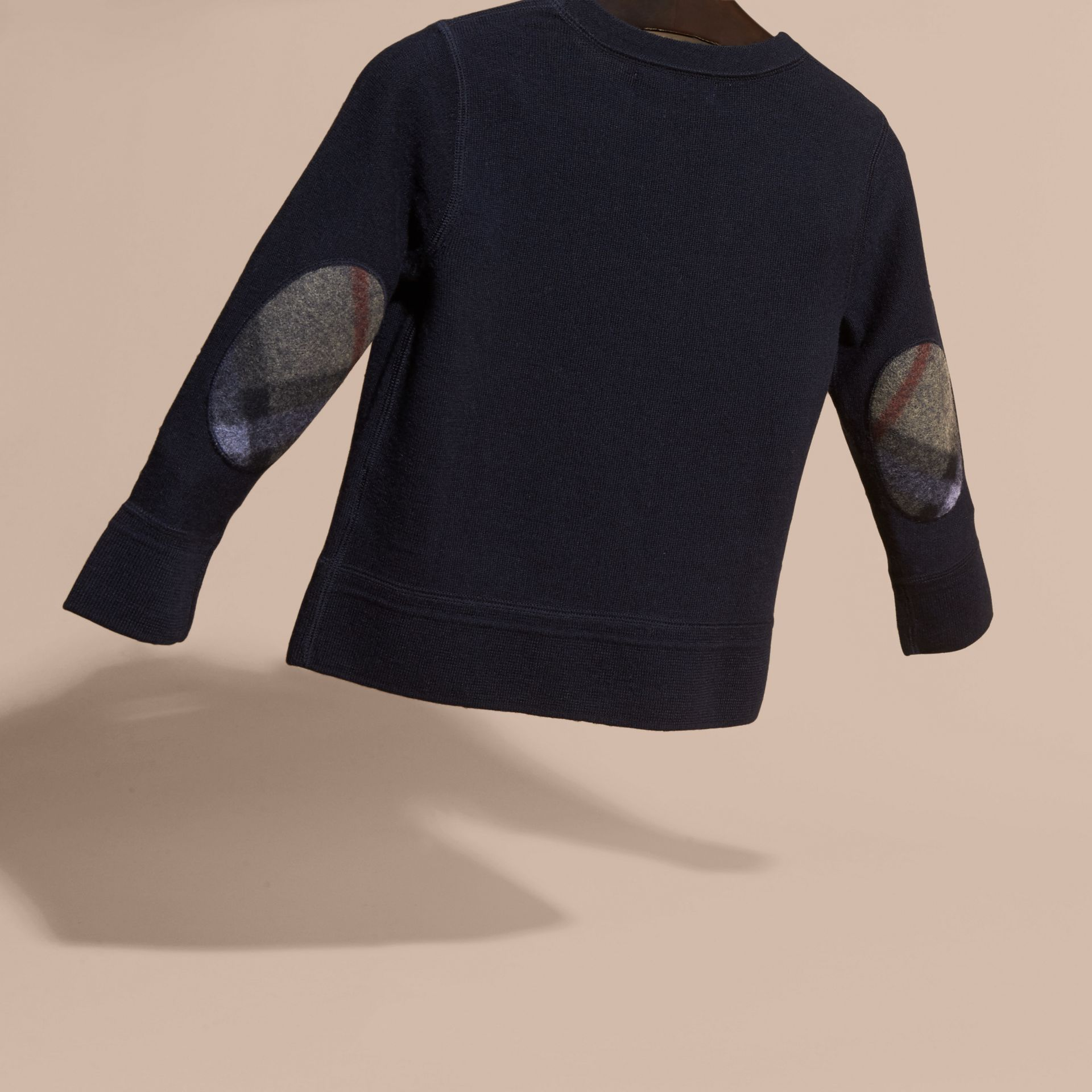 Navy Check Elbow Patch Merino Wool Sweater - gallery image 4