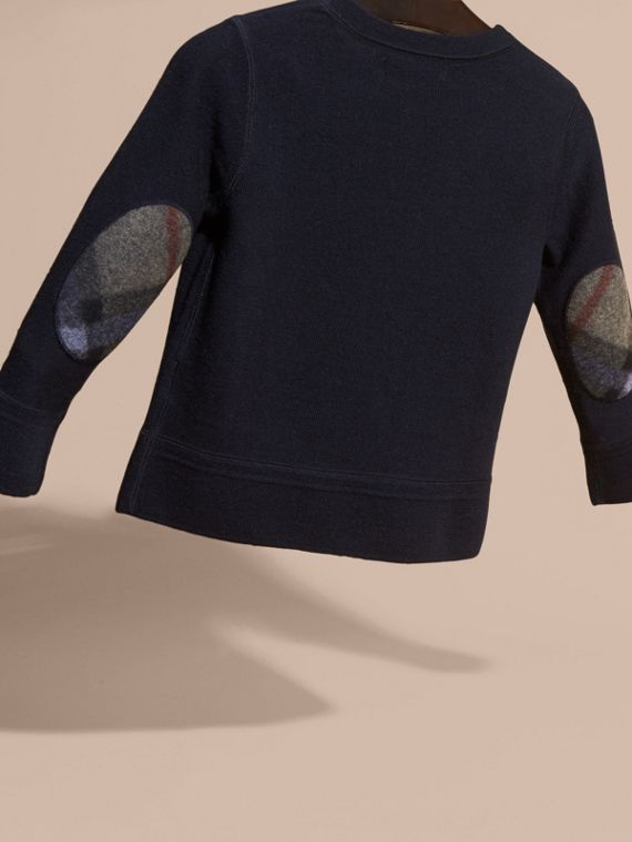 Check Elbow Patch Merino Wool Sweater in Navy - Boy | Burberry Canada - cell image 3