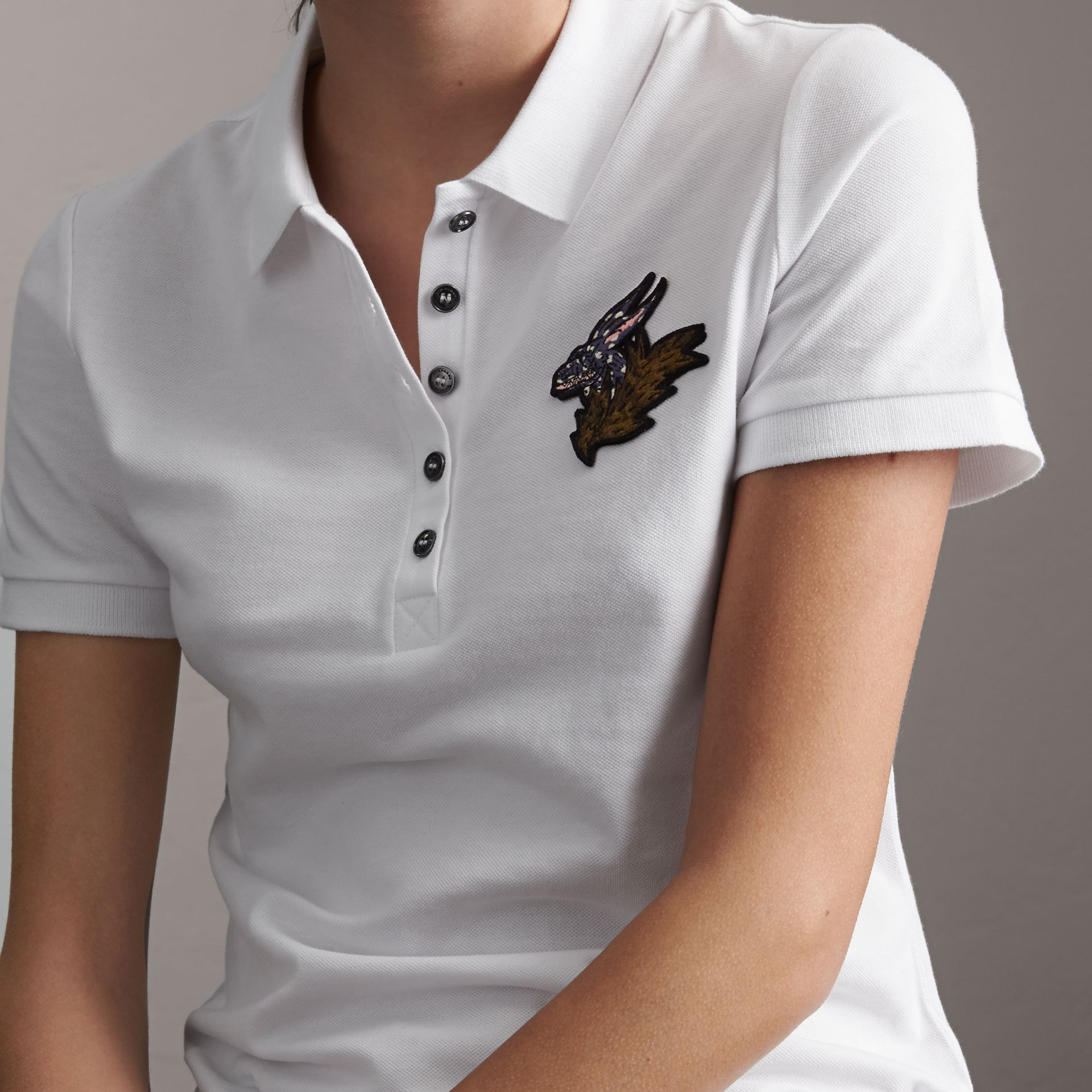 Beasts Motif Stretch Cotton Piqué Polo Shirt in White - Women | Burberry Canada - gallery image 4