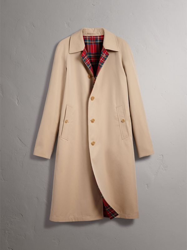Reversible Gabardine and Tartan Wool Car Coat in Honey/ Red - Men | Burberry - cell image 3