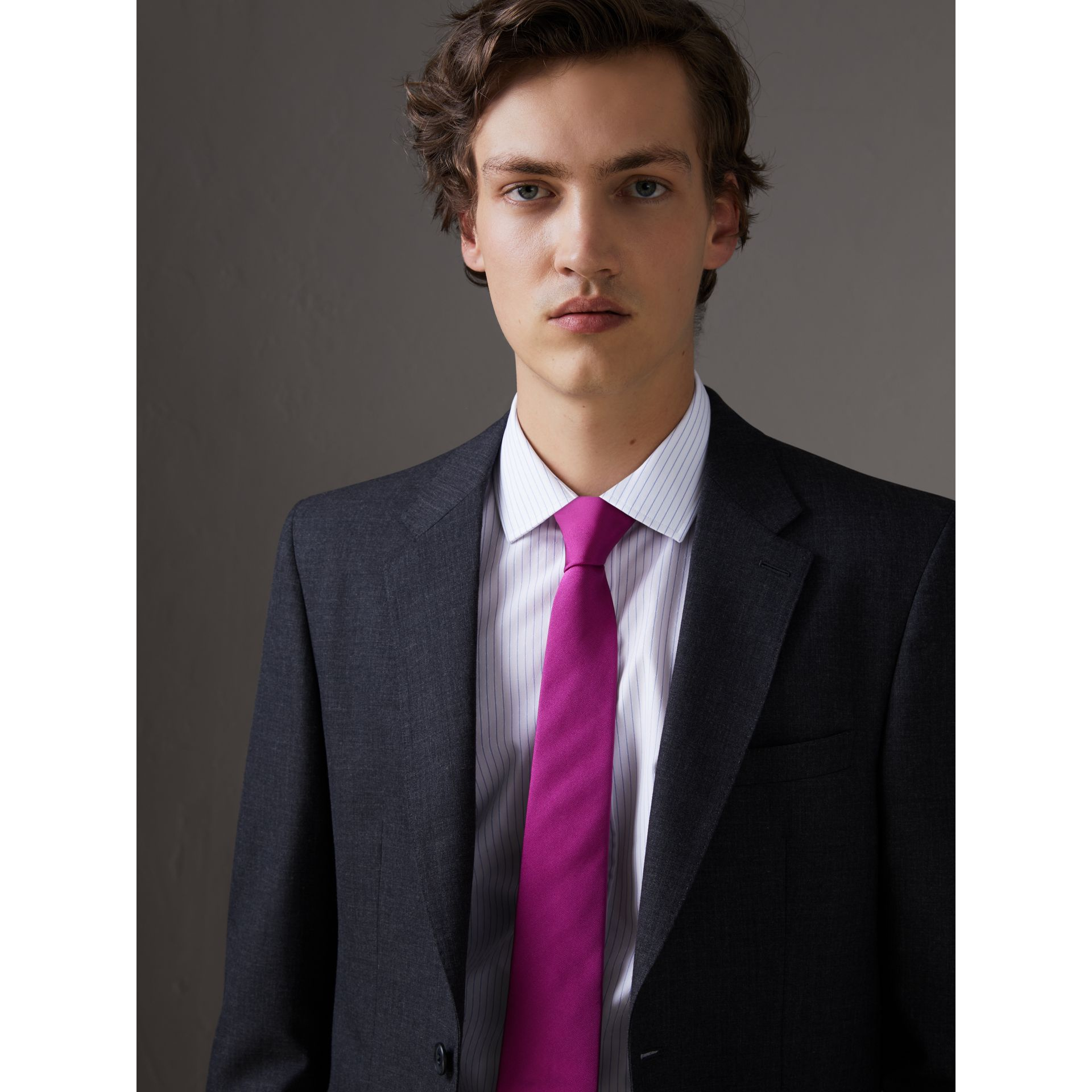 Modern Cut Silk Tie in Bright Rose Pink - Men | Burberry - gallery image 2