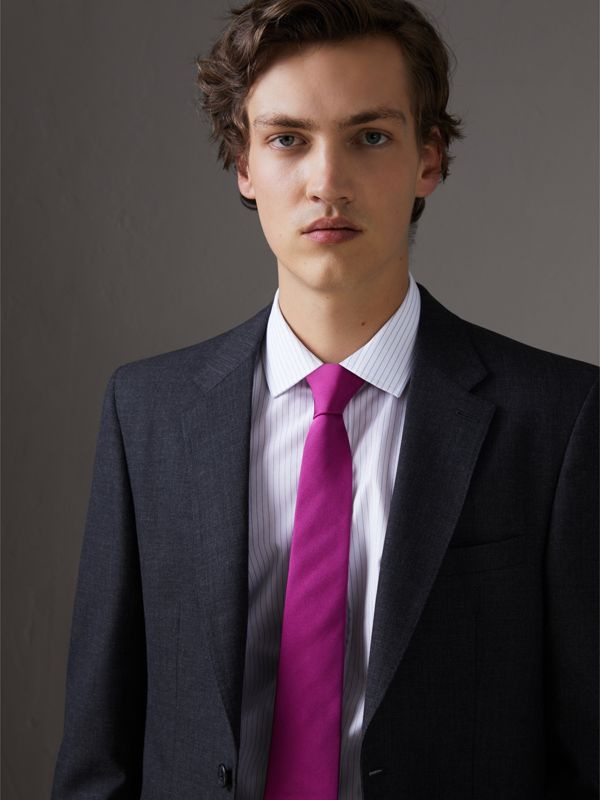 Modern Cut Silk Tie in Bright Rose Pink - Men | Burberry - cell image 2