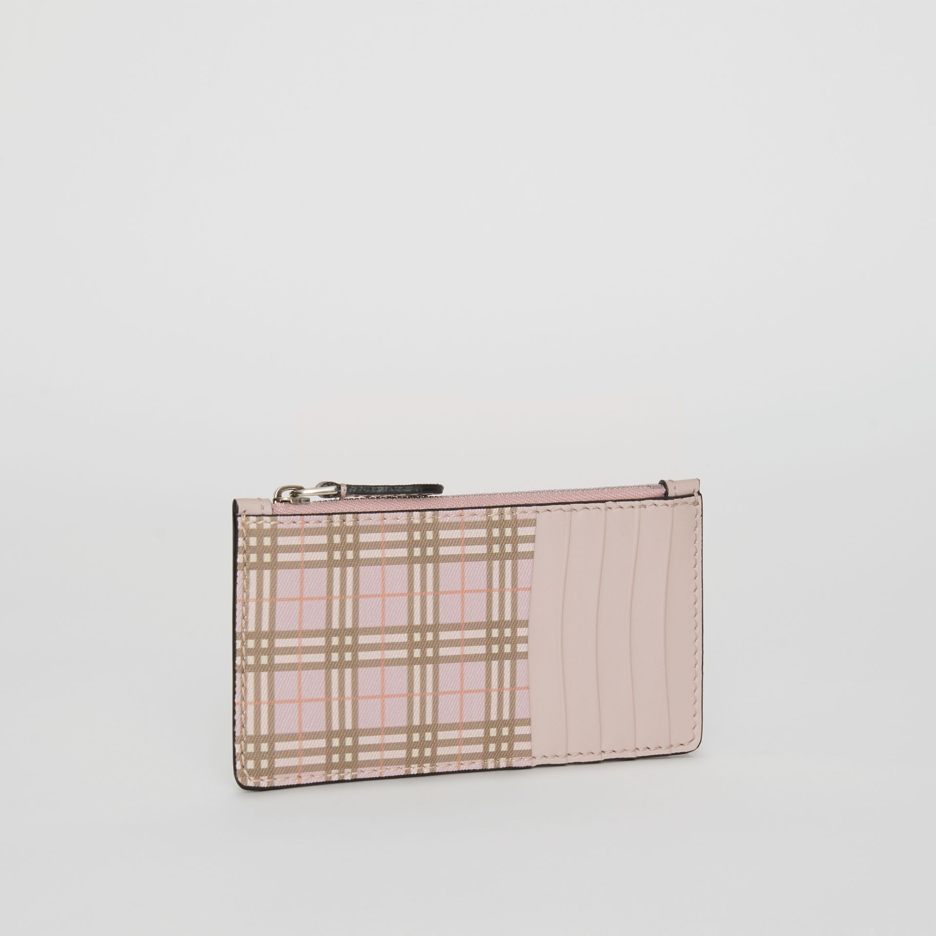 Small Scale Check and Leather Card Case in Pink - Women | Burberry Australia - gallery image 4