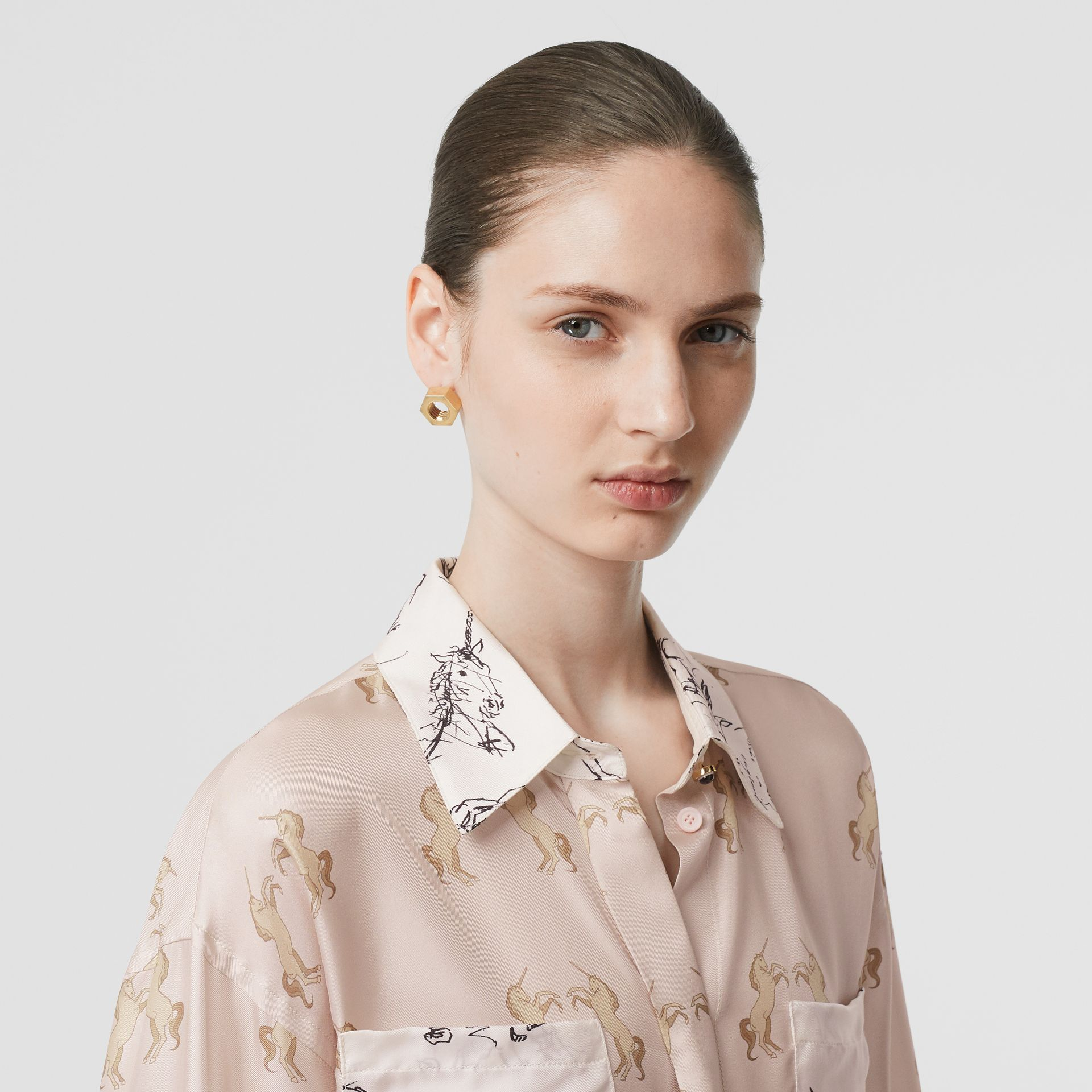 Contrast Unicorn Print Silk Twill Shirt in Pale Pink - Women | Burberry United States - gallery image 1