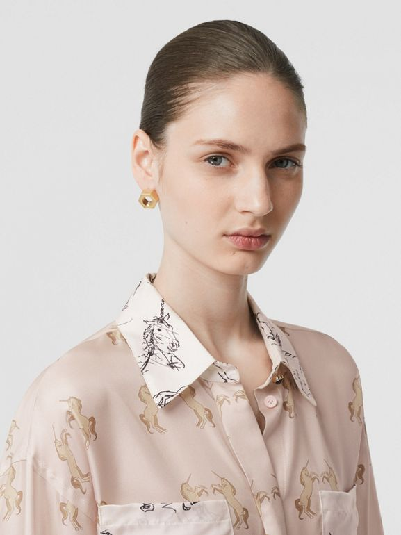 Contrast Unicorn Print Silk Twill Shirt in Pale Pink - Women | Burberry - cell image 1