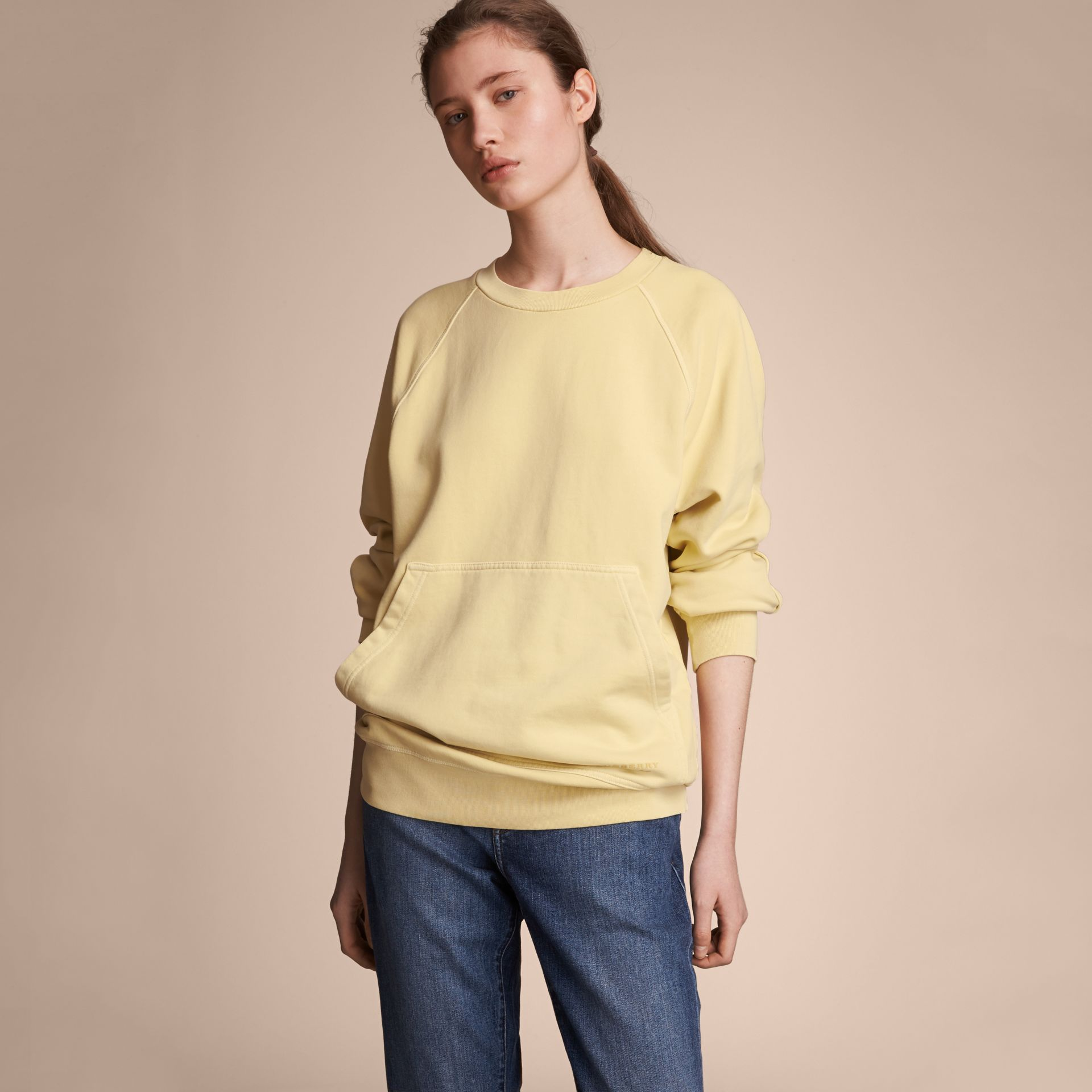 Unisex Pigment-dyed Cotton Oversize Sweatshirt in Pale Yellow - Women | Burberry - gallery image 7