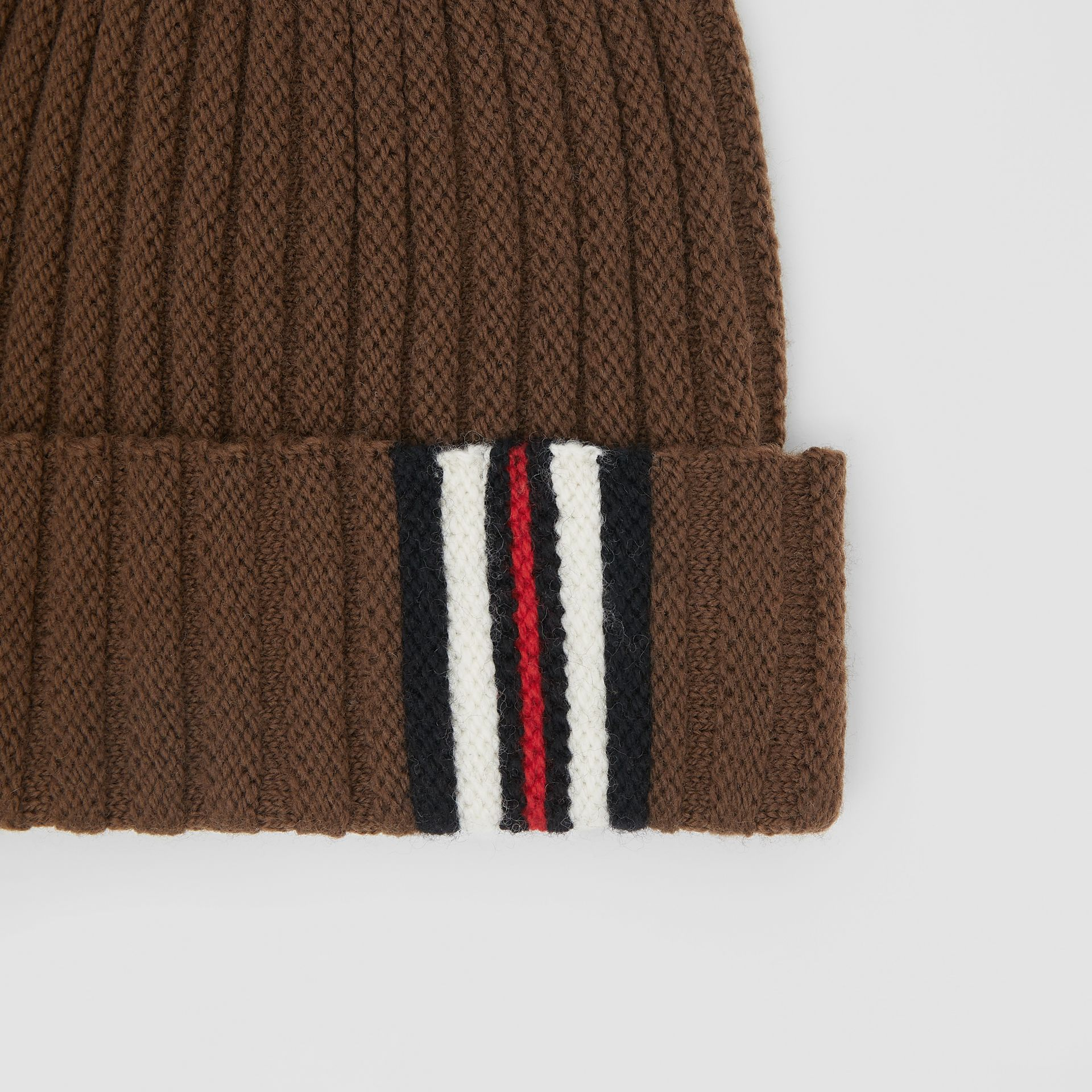 Stripe Detail Rib Knit Wool Beanie in Brown | Burberry United States - gallery image 6
