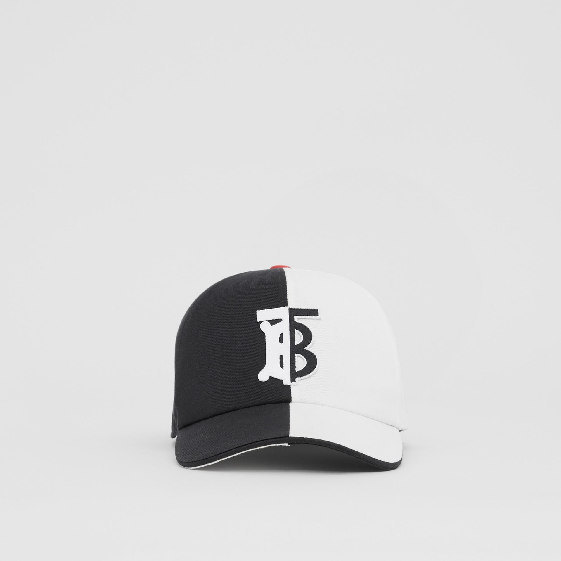 花押字圖案雙色調棉質棒球帽 (黑色/白色) | Burberry - 圖庫照片 3