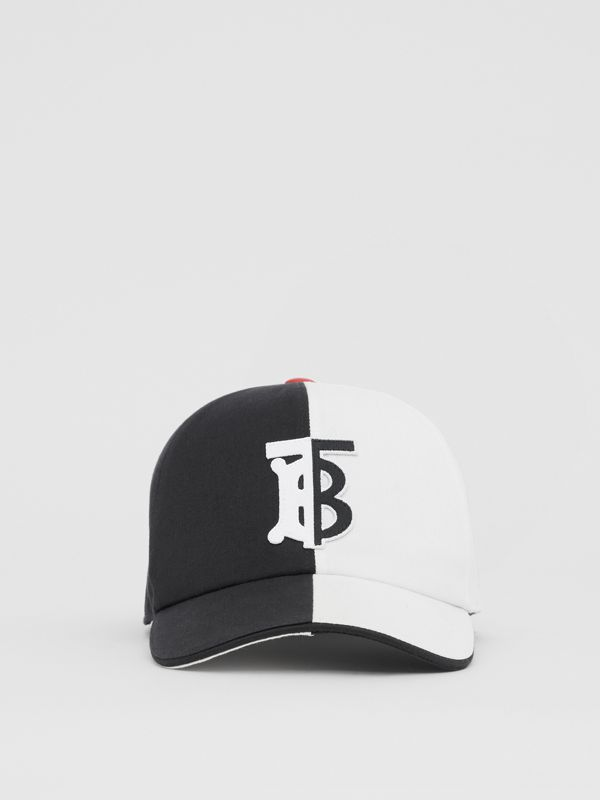 Monogram Motif Two-tone Cotton Baseball Cap in Black/white | Burberry United Kingdom - cell image 3