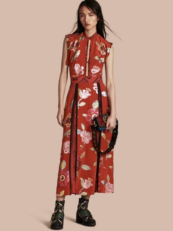 Floral Fil Coupé Silk Dress