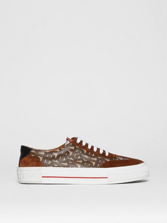 Suede Detail Monogram Stripe Sneakers in Bridle Brown