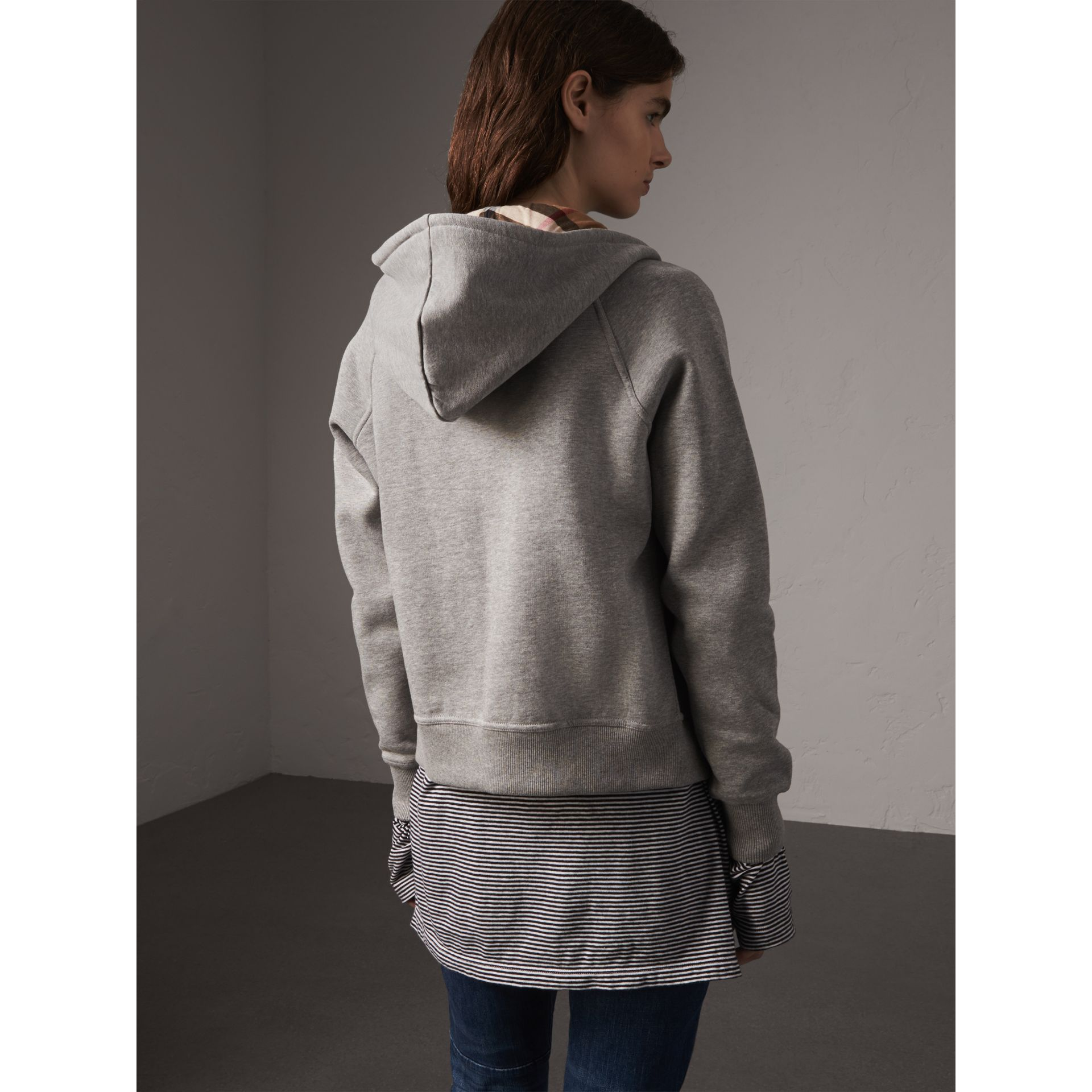 Hooded Zip-front Cotton Blend  Sweatshirt in Pale Grey Melange - Women | Burberry United Kingdom - gallery image 2