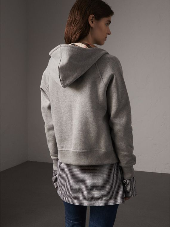 Hooded Zip-front Cotton Blend  Sweatshirt in Pale Grey Melange - Women | Burberry United Kingdom - cell image 2