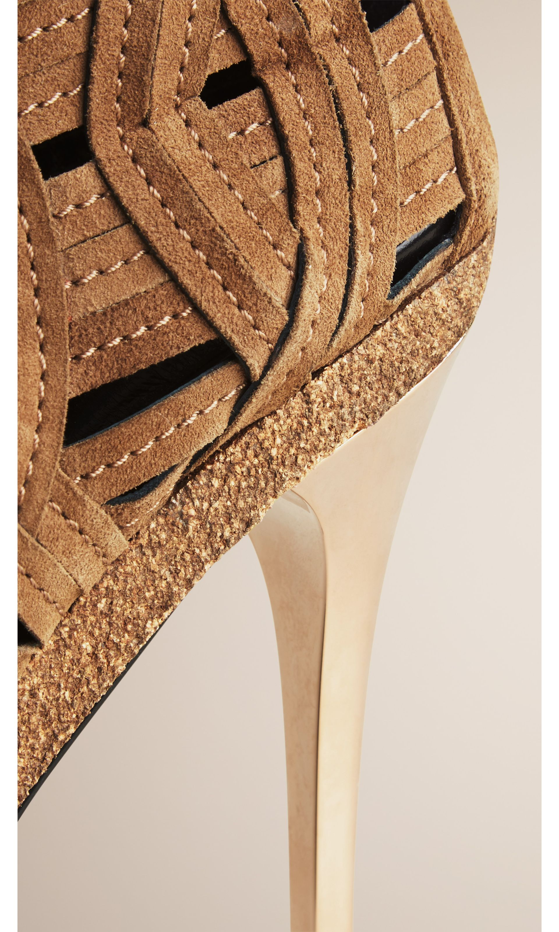 Woven Suede Ankle Boots in Walnut Brown - Women | Burberry United States - gallery image 4
