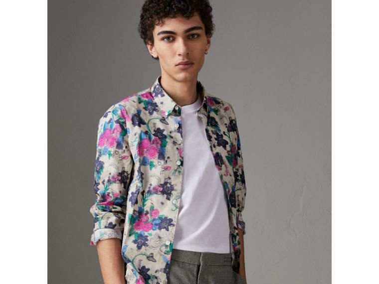 Watercolour Floral Print Shirt in Natural - Men | Burberry - cell image 4