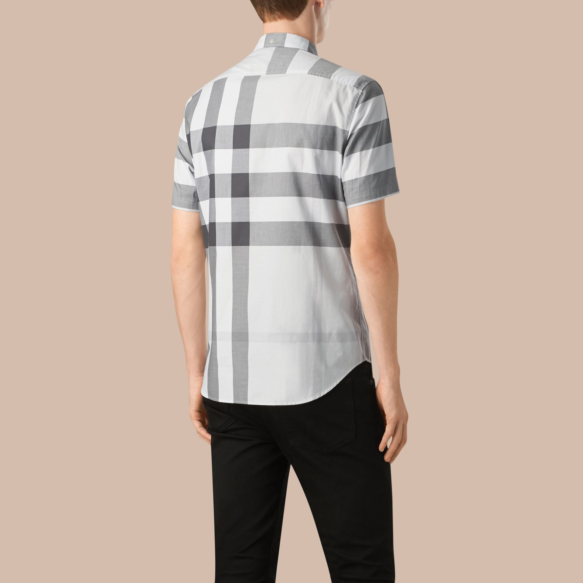 Pale stone Short-sleeved Check Cotton Shirt Pale Stone - gallery image 2