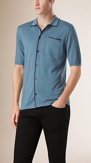 Short-sleeved Wool Silk Blend Knitted Shirt
