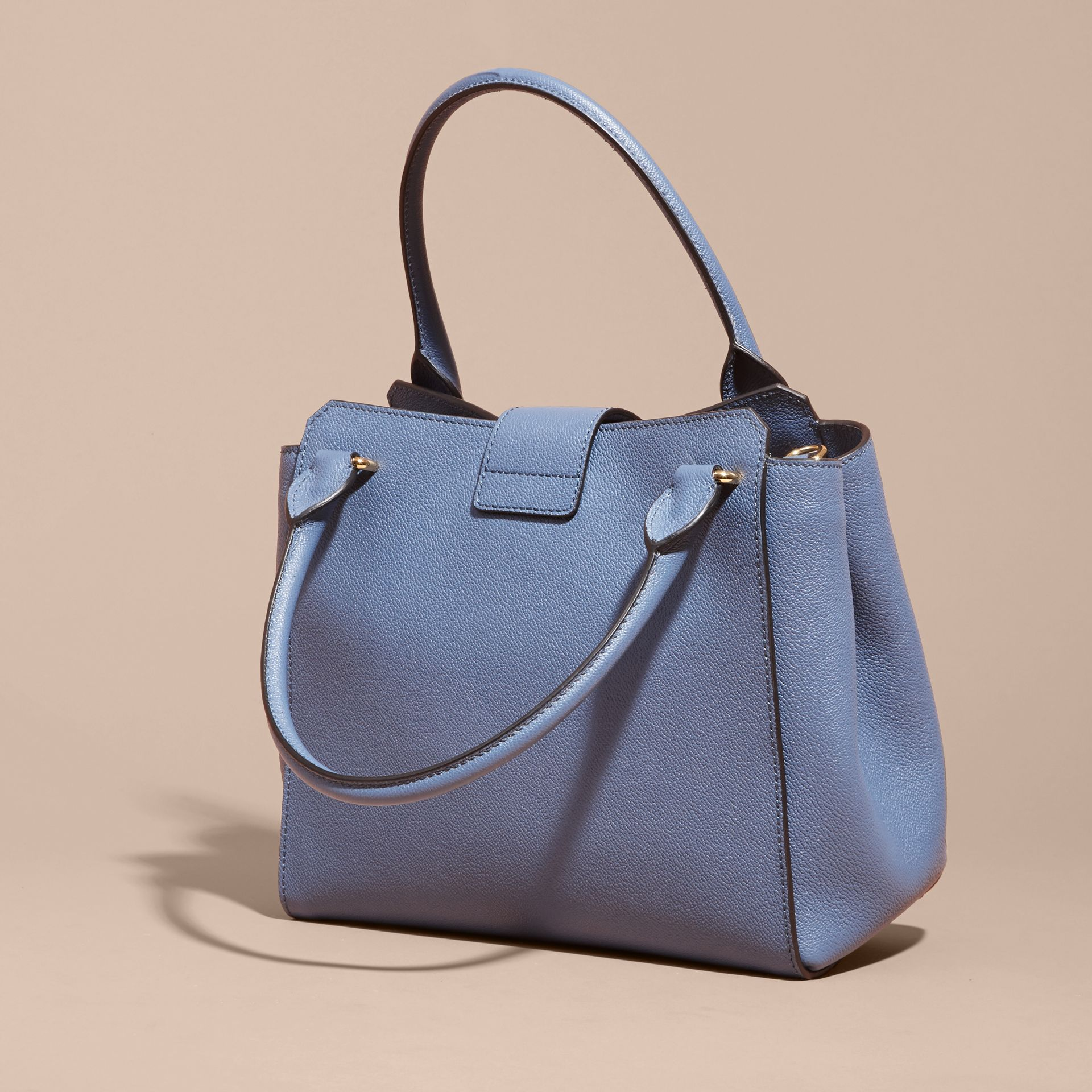 The Medium Buckle Tote in Grainy Leather in Steel Blue - gallery image 5