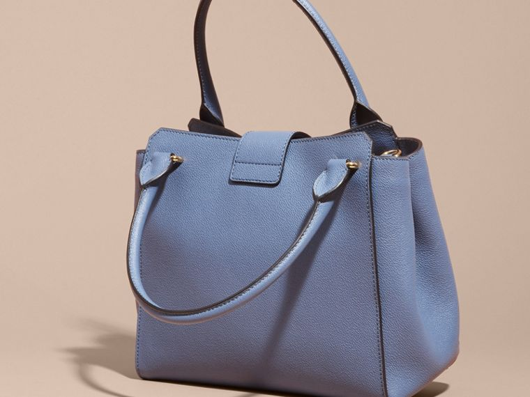 The Medium Buckle Tote in Grainy Leather in Steel Blue - cell image 4