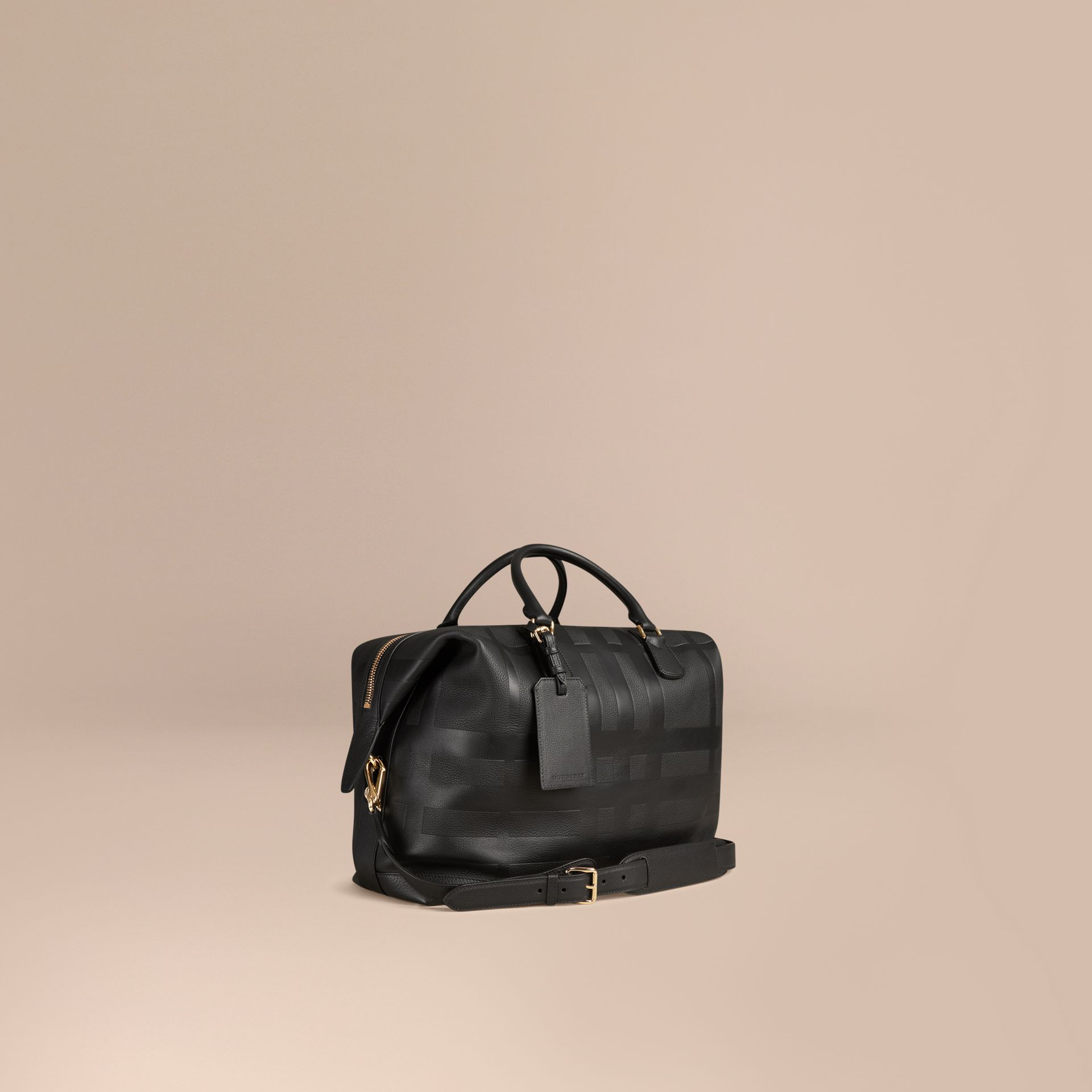 Black Check Embossed Leather Holdall - gallery image 1