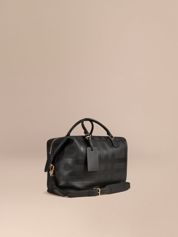 Check Embossed Leather Holdall