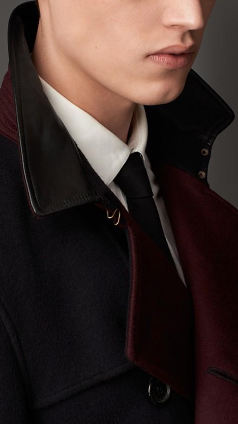 Navy Lambskin Detail Virgin Wool Cashmere Trench Coat - Image 3