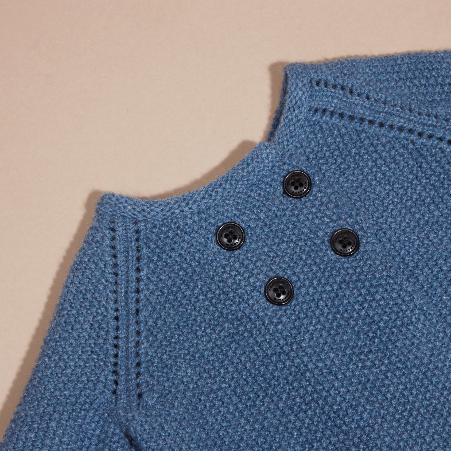 Bright steel blue Textured Cashmere Cardigan - gallery image 2
