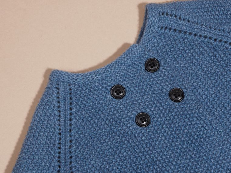 Bright steel blue Textured Cashmere Cardigan - cell image 1