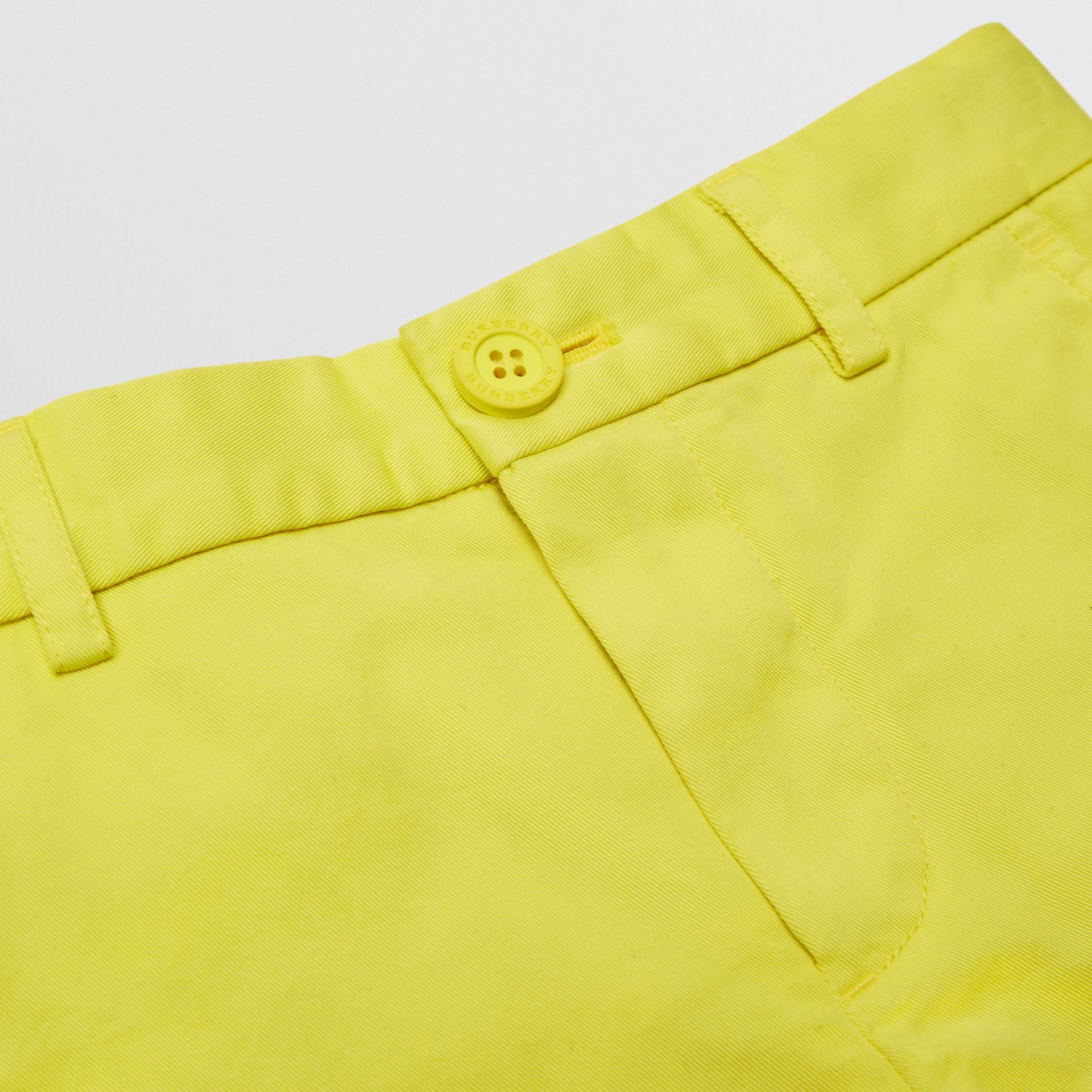 Cotton Chino Shorts in Citron | Burberry - gallery image 1