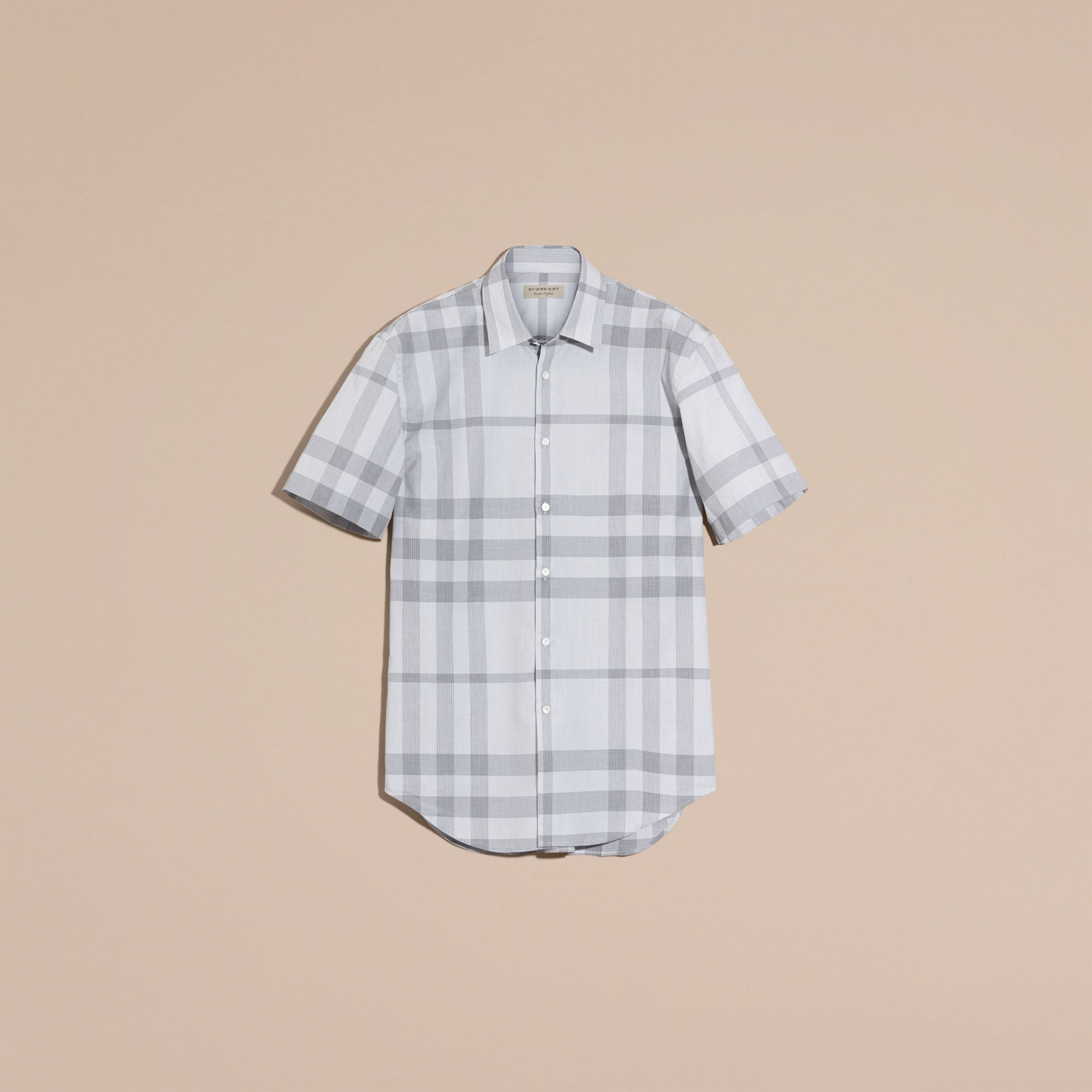 Pale grey Short-sleeved Check Cotton Shirt - gallery image 4
