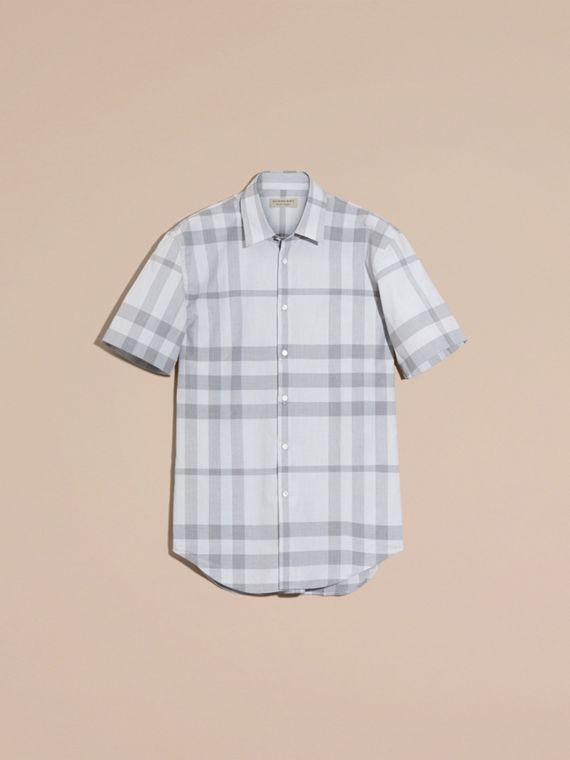 Pale grey Short-sleeved Check Cotton Shirt - cell image 3