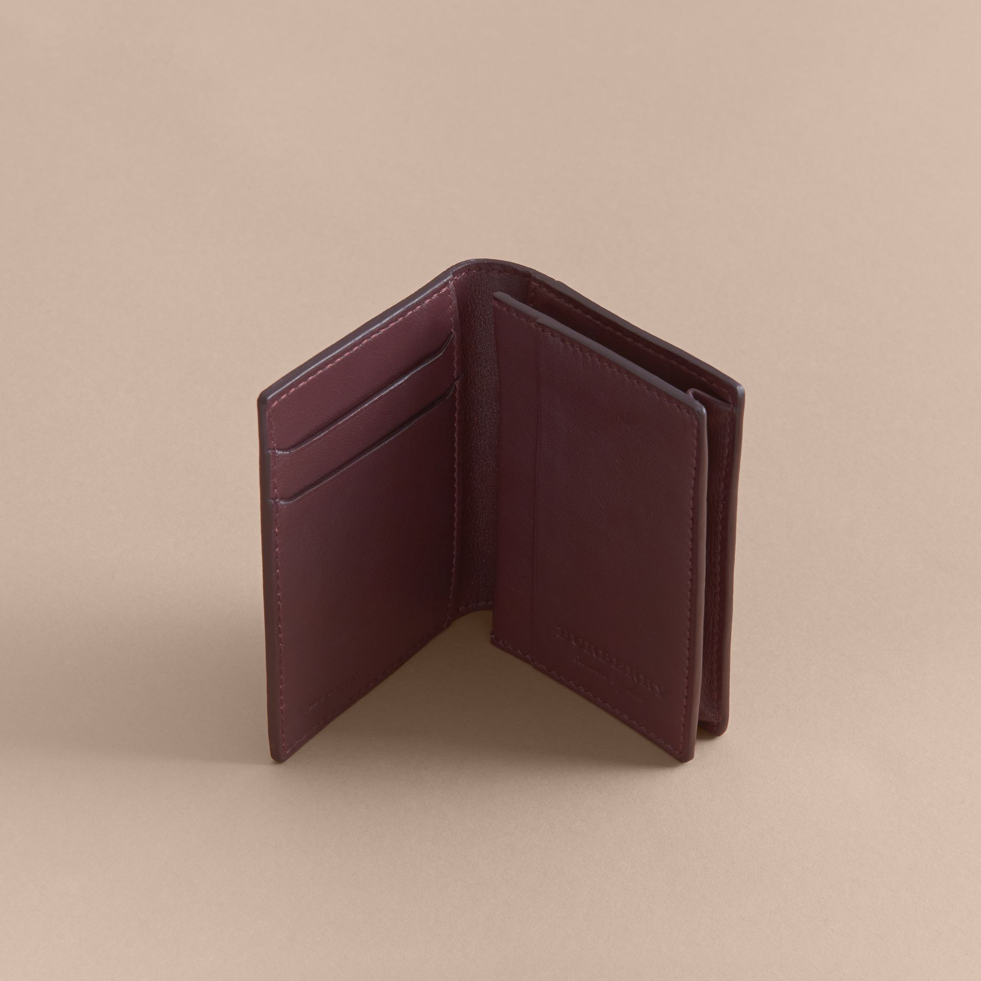 Trench Leather Folding Card Case in Wine - Men | Burberry - gallery image 4