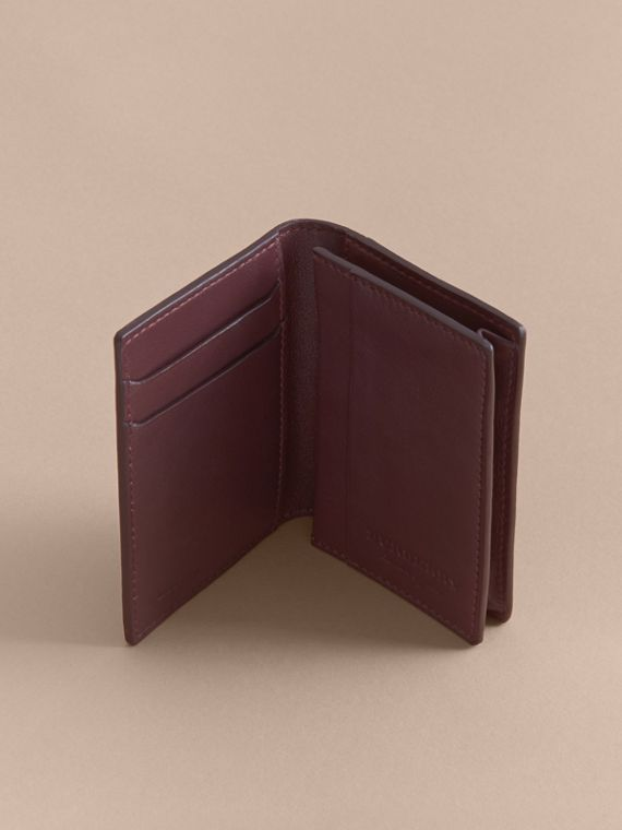 Trench Leather Folding Card Case in Wine - Men | Burberry - cell image 3