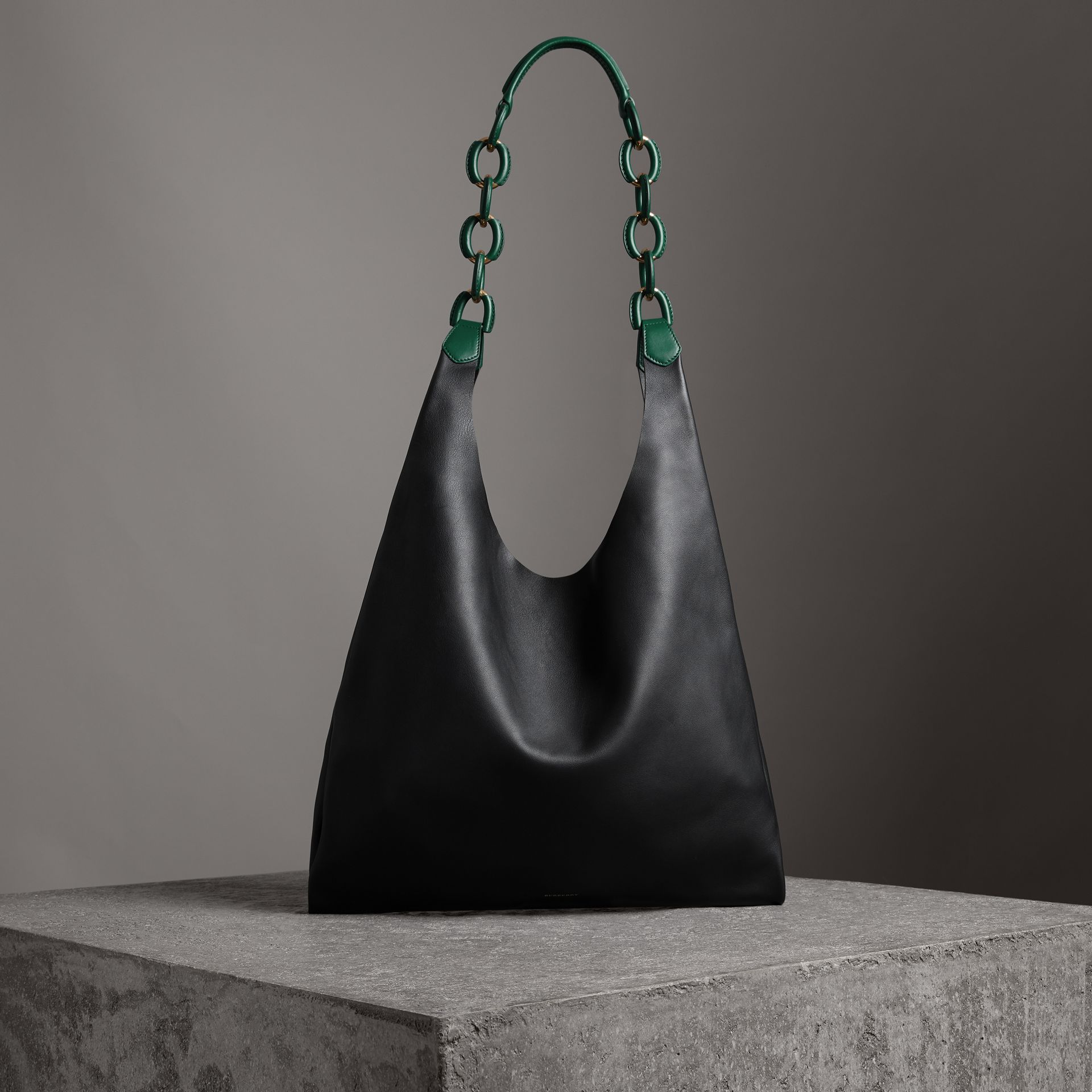 Medium Two-tone Leather Shopper in Black - Women | Burberry Australia - gallery image 0