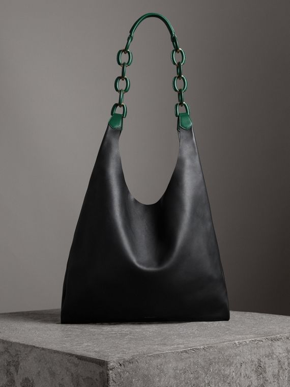 Medium Two-tone Leather Shopper in Black