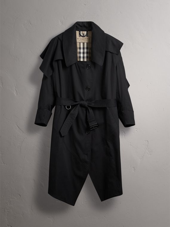 Cotton Asymmetric Trench Coat in Black - Women | Burberry Singapore - cell image 3