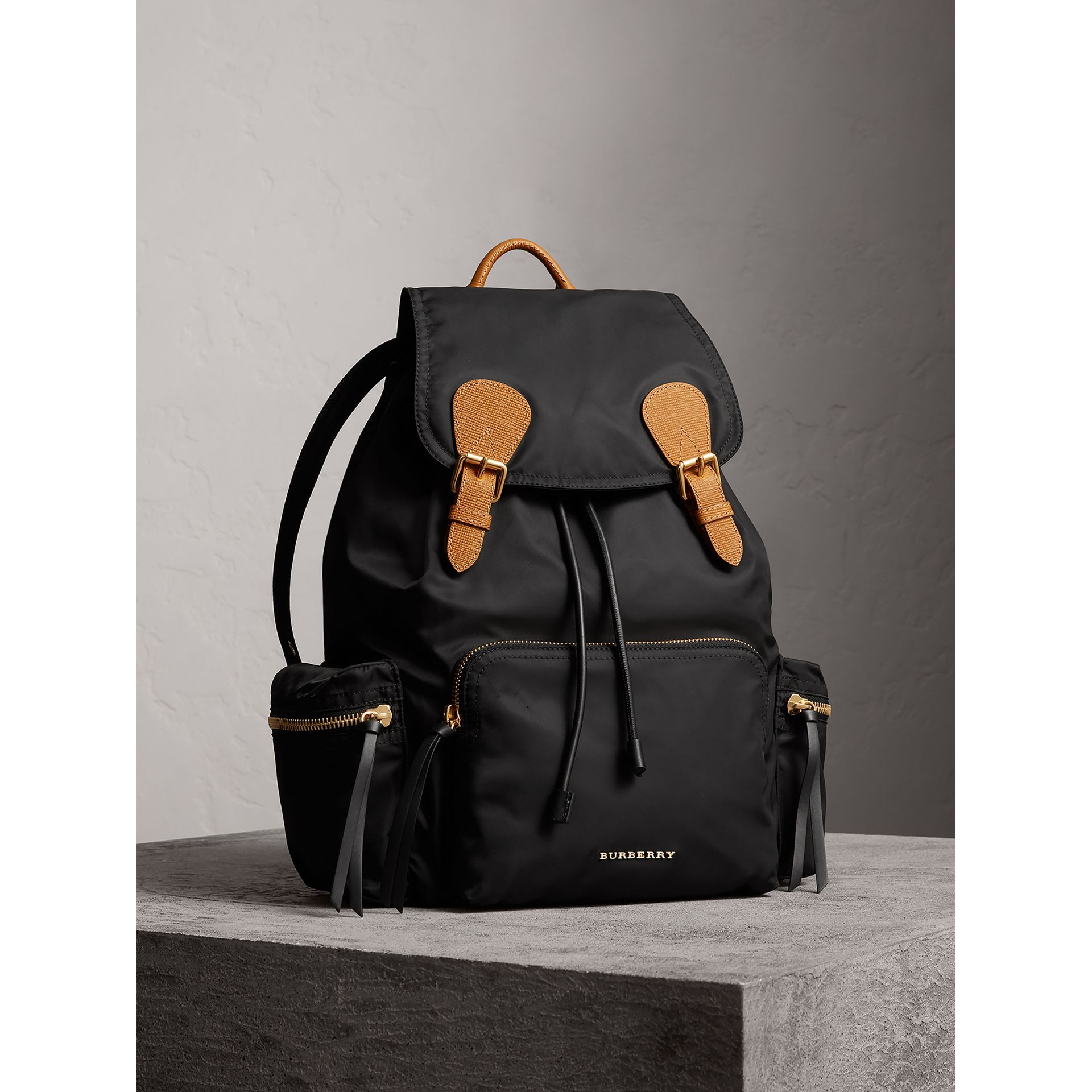 The Large Rucksack in Technical Nylon and Leather in Black - Women | Burberry United States - gallery image 0