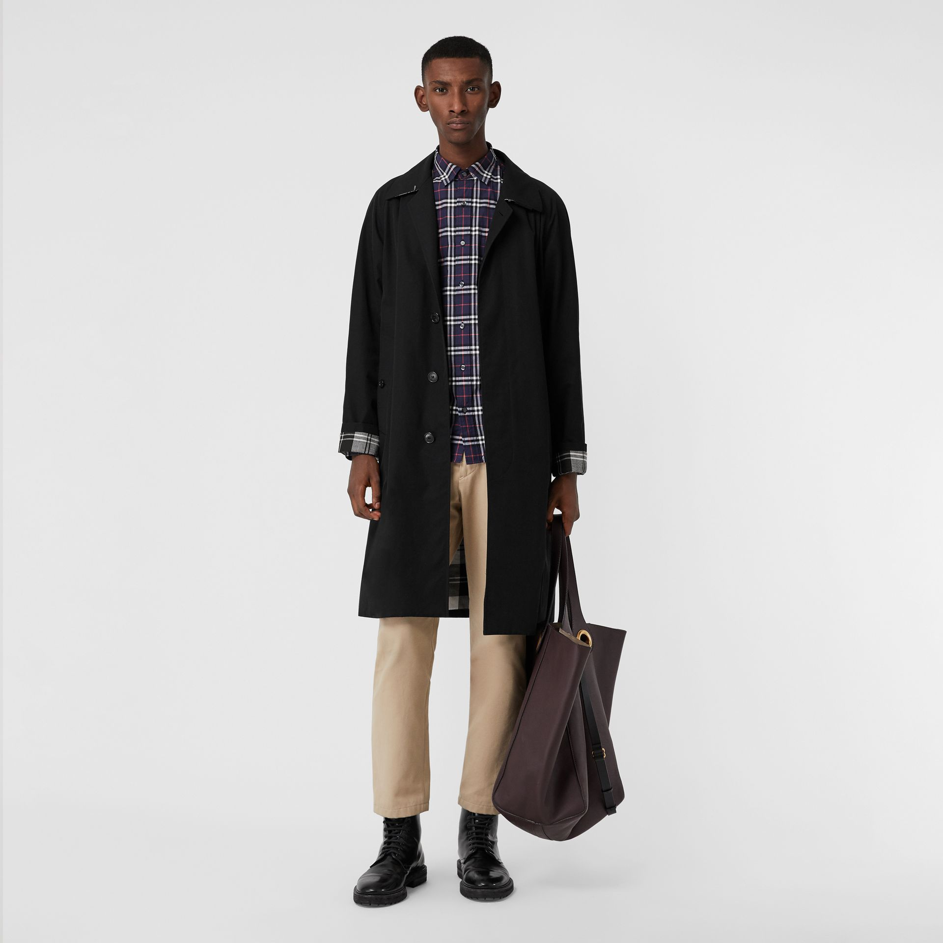 Check Cotton Shirt in Navy - Men | Burberry - gallery image 0