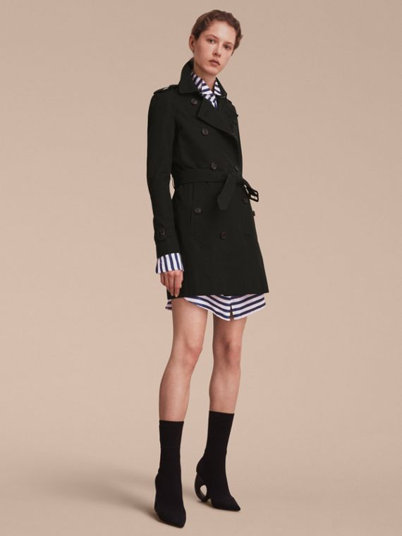 The Kensington – Mid-Length Heritage Trench Coat Black